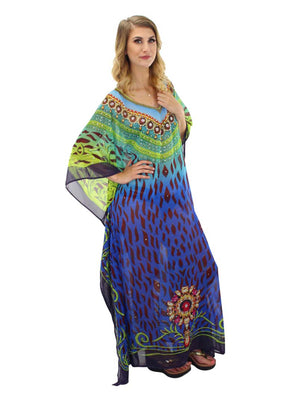 Elegant Blue Long Bohemian Cover Up Dress
