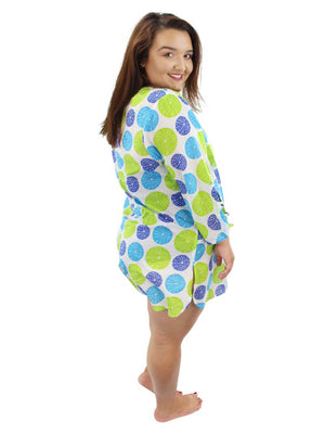 Blue & Green Polka Dot Plus Size Sundress Cover Up