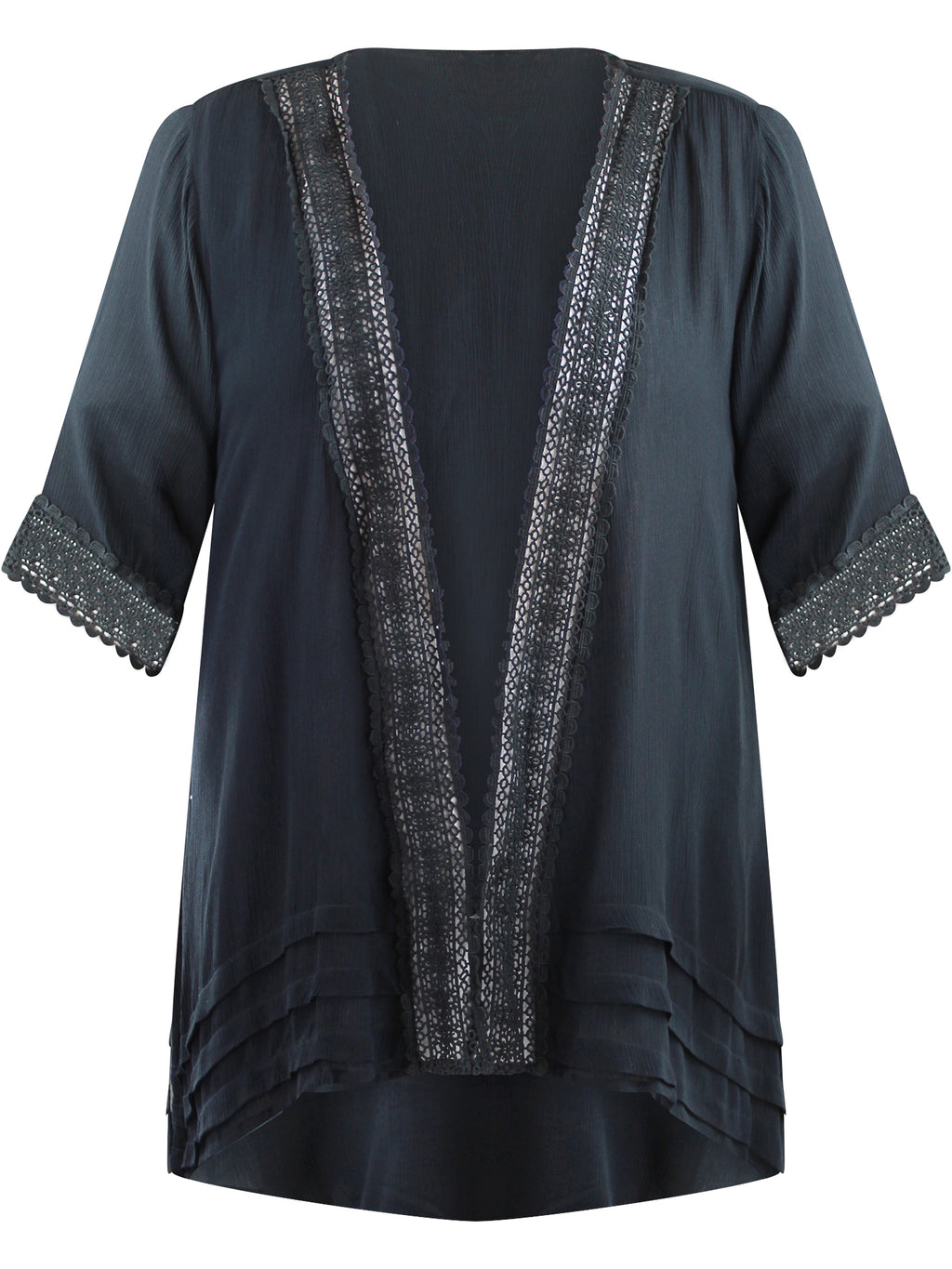 Plus Size Kimono Cardigan With Lace Trim