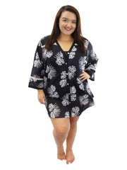 Black Plus Size Tropical Print Beach Cover Up