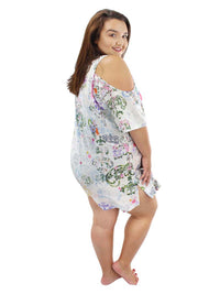 White Paisley Plus Size Cold Shoulder Sundress Cover Up