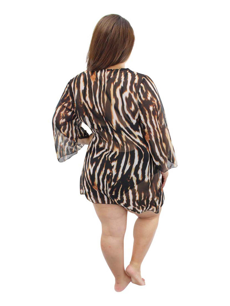 Brown Plus Size Animal Print Sheer Swimwear Cover Up
