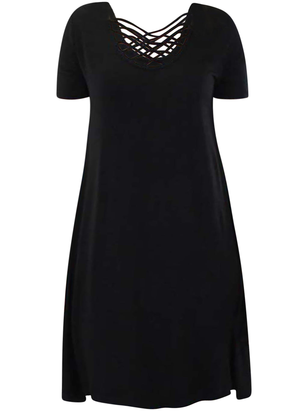Short Sleeve Midi Dress With Criss-Cross Neckline