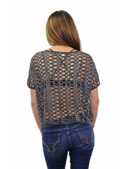 Short Sleeve Crop Top With Hole Cut-Outs