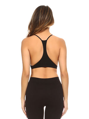 Black Crisscross Ribbed Knit Racerback Bralette