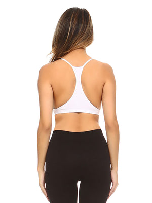 White Crisscross Ribbed Knit Racerback Bralette