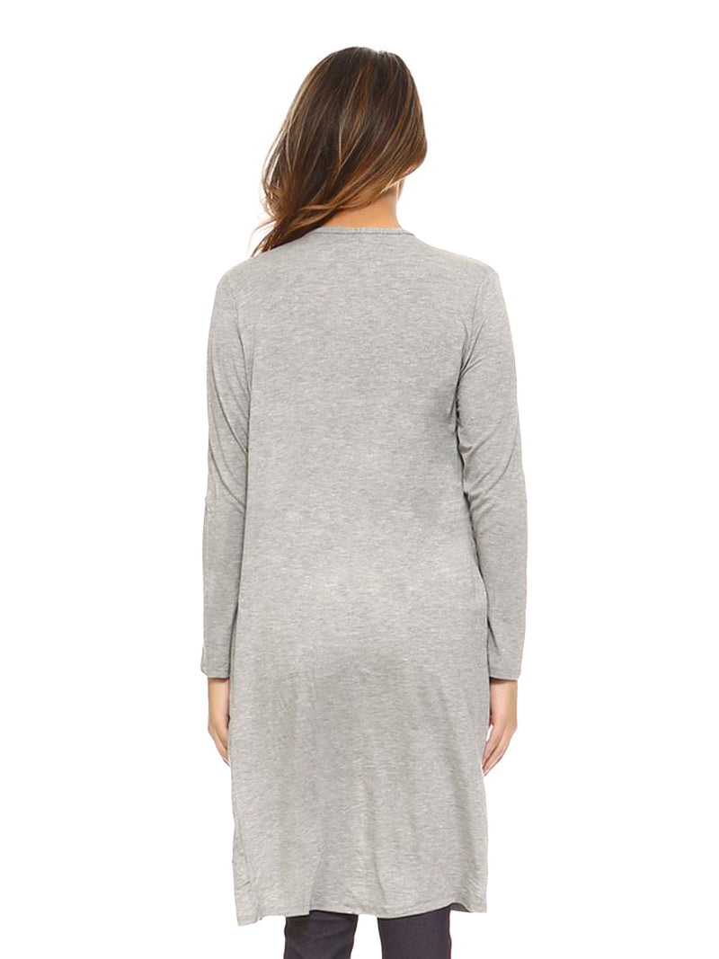 Light Gray Open Front Cardigan