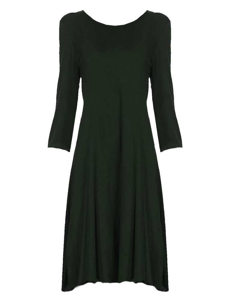 Black Jersey Knit Long Sleeve Flared Swing Dress