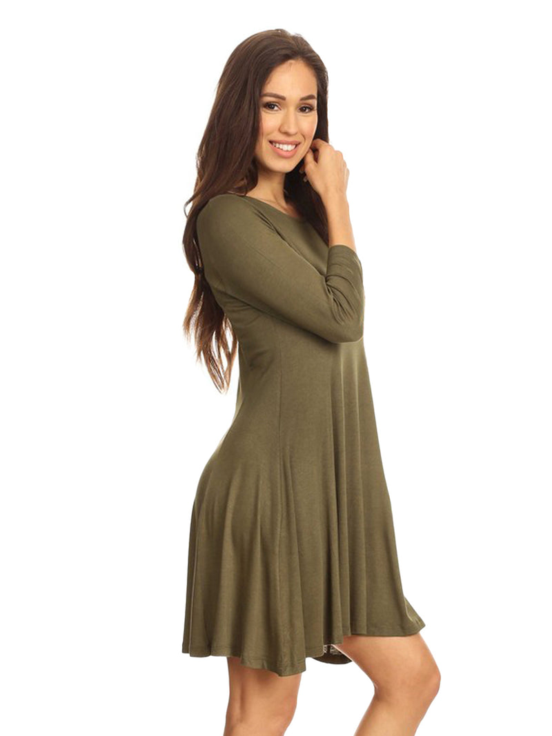 Olive Green Knit Long Sleeve Flared Swing Dress