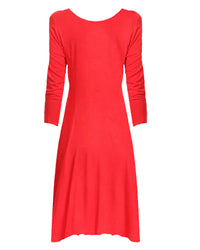 Red Jersey Knit Long Sleeve Flared Swing Dress
