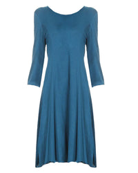 Teal Blue Jersey Knit Long Sleeve Swing Dress