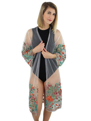 Ivory Floral Embroidered Kimono Cover Up