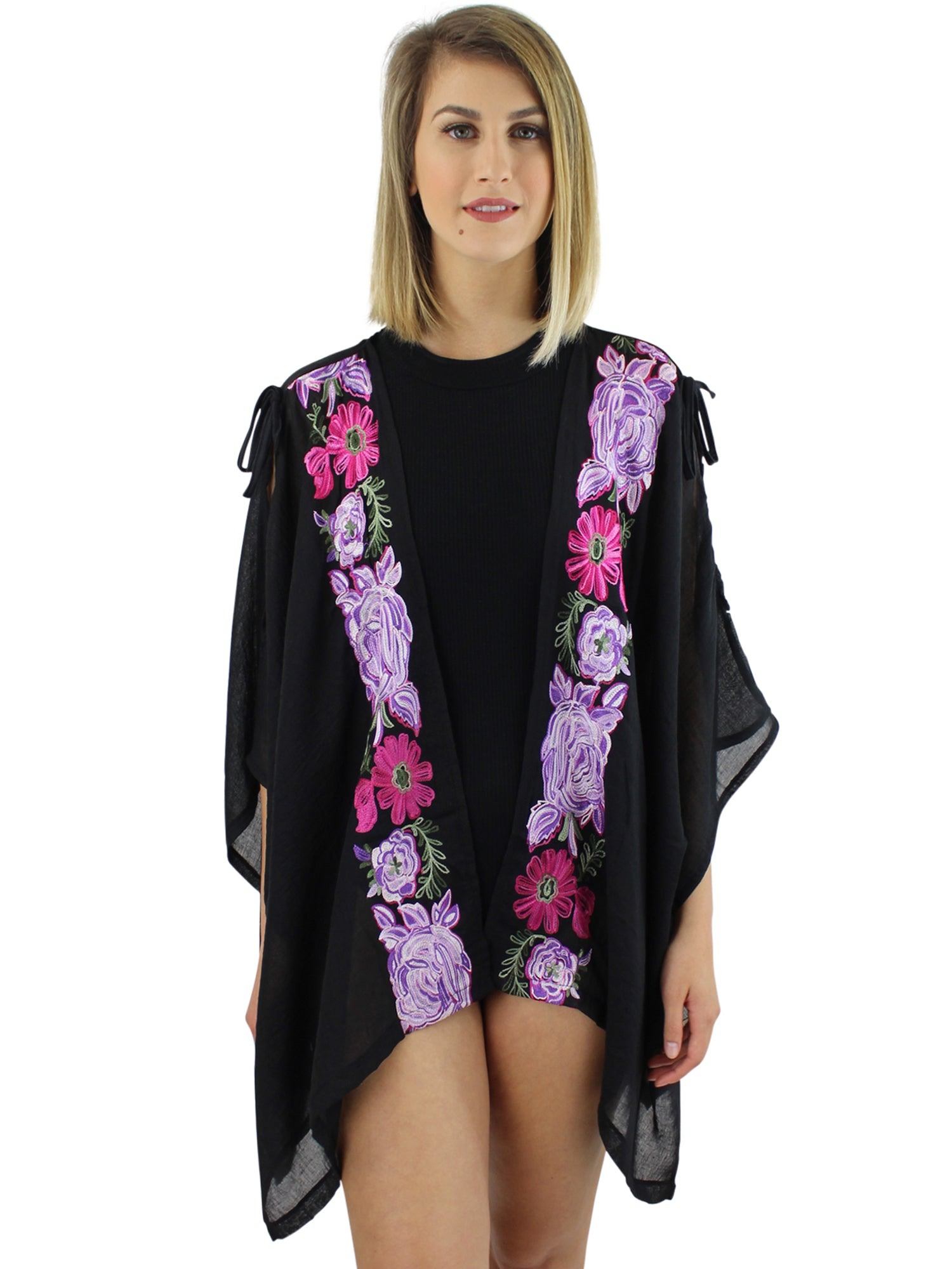 Black Embroidered Kimono Cover Up