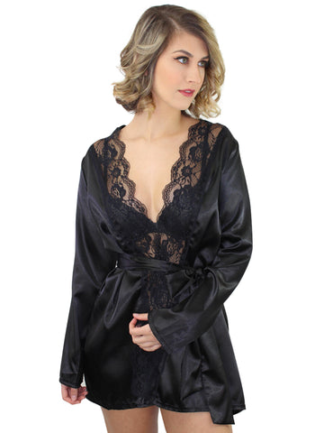 Black Long Sleeve Satin Robe With Lace Trim