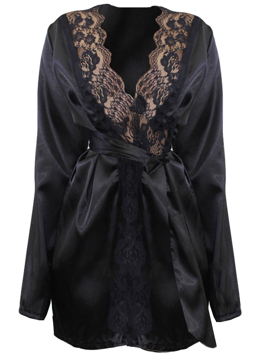 Black Satin Robe With Lace Trim
