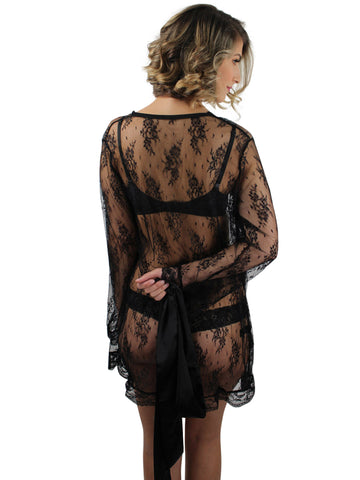 Black Sheer Lace Robe With Satin Tie