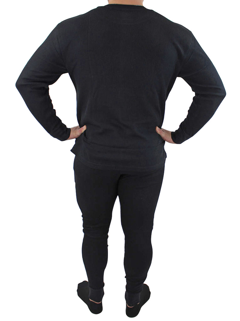 Mens Black Thermal Big & Tall Underwear Set