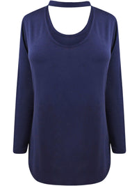 Navy Blue Choker Style Top