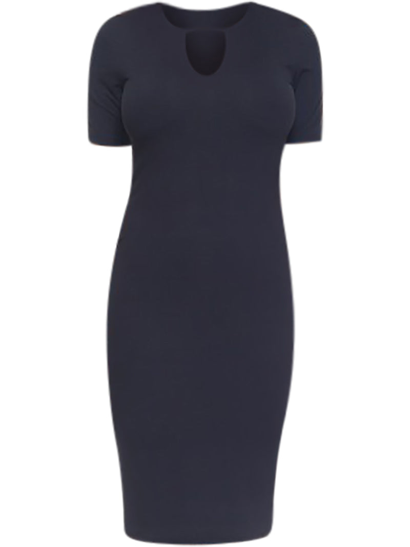 Black Keyhole Short Sleeve Midi Dress
