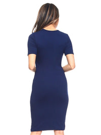 Navy Blue Keyhole Short Sleeve Midi Dress
