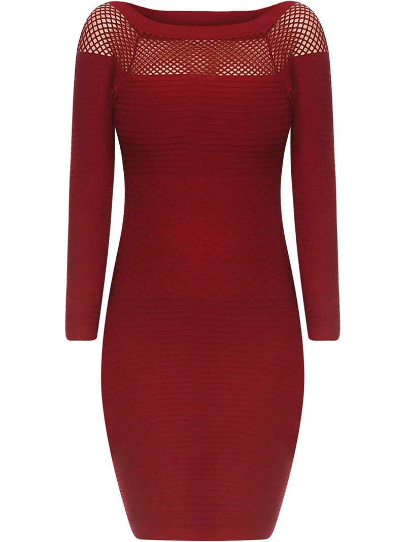Wine Red Long Sleeve Netted Neckline Dress