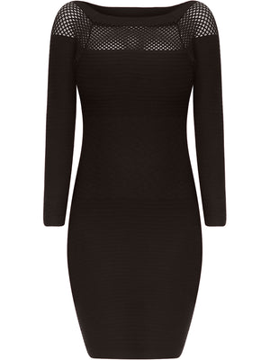 Black Long Sleeve Netted Neckline Dress