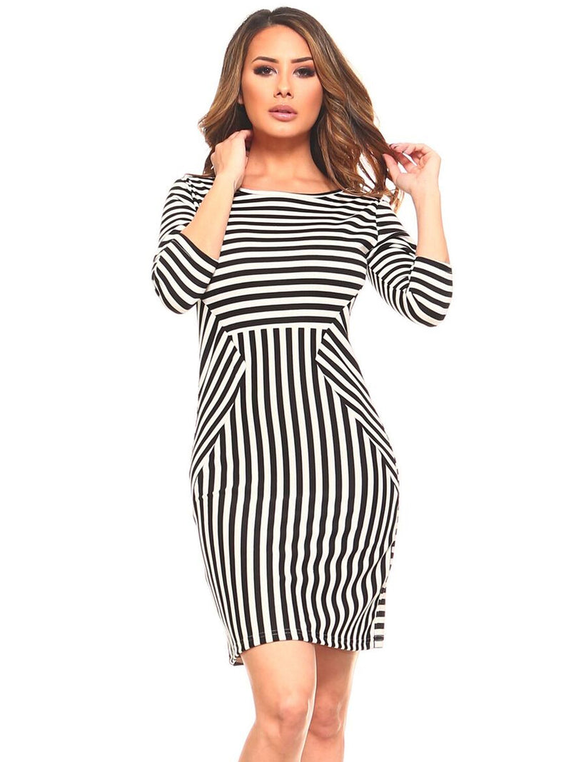 Black And White Striped Womens Dress