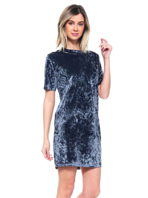 Charcoal Gray Womens Velvet Short Sleeve Dress