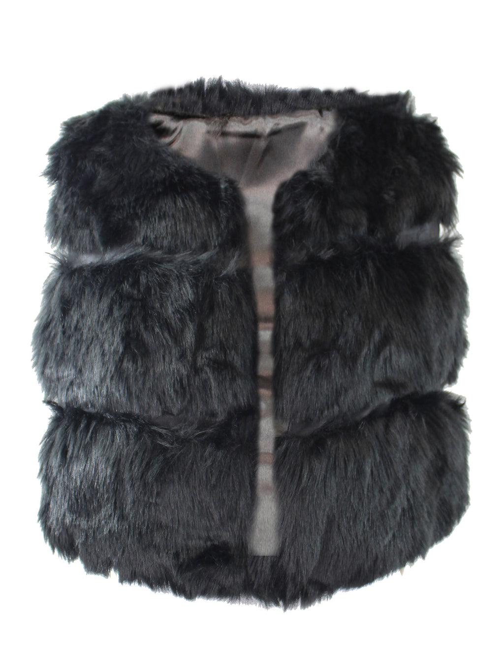 Black Faux Fur Womens Sleeveless Short Vest