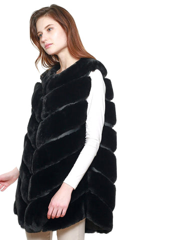 Black Luxury Thick Faux Fur Sleeveless Vest