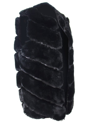 Black Thick Faux Fur Sleeveless Vest