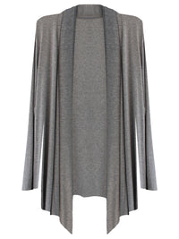 Gray Womens Open Front Draped Cardigan