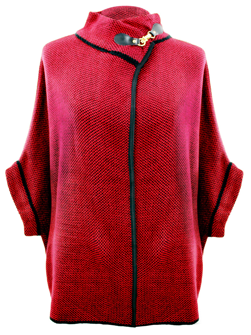 Burgundy And Black Poncho Jacket With Toggle Closure