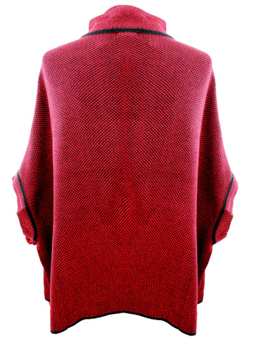 Burgundy and Black Poncho Style Jacket With Toggle Closure