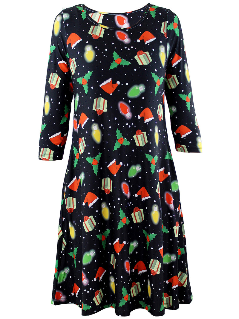 Christmas Womens Holiday Swing Dress