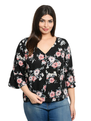 266f062ddd799 ... Black Floral Womens Plus Size V-Neck Blouse With Bell Sleeves ...