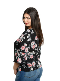 Black Floral Womens Plus Blouse With Sleeves