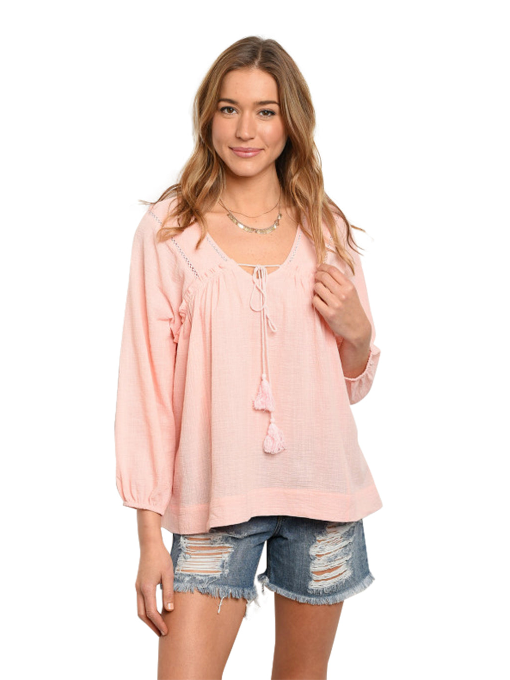 Blush Pink Womens Long Sleeve Tunic