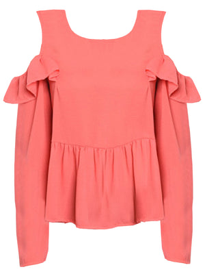 Coral Pink Womens Cold Shoulder Ruffled Tunic Top