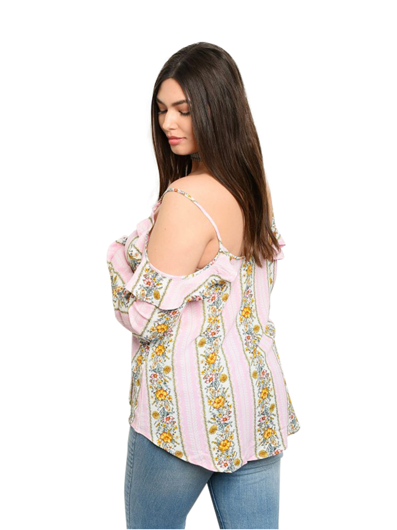 Cold Shoulder Pink Floral Womens Plus Size Blouse