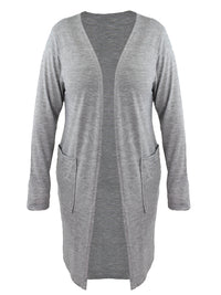 Womens Gray Plus Size Long Sleeve Knit Cardigan