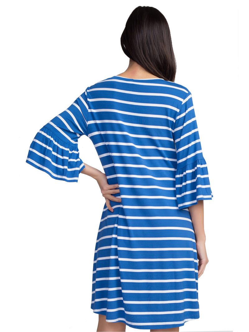Blue & White Striped Womens Relaxed Fit Dress