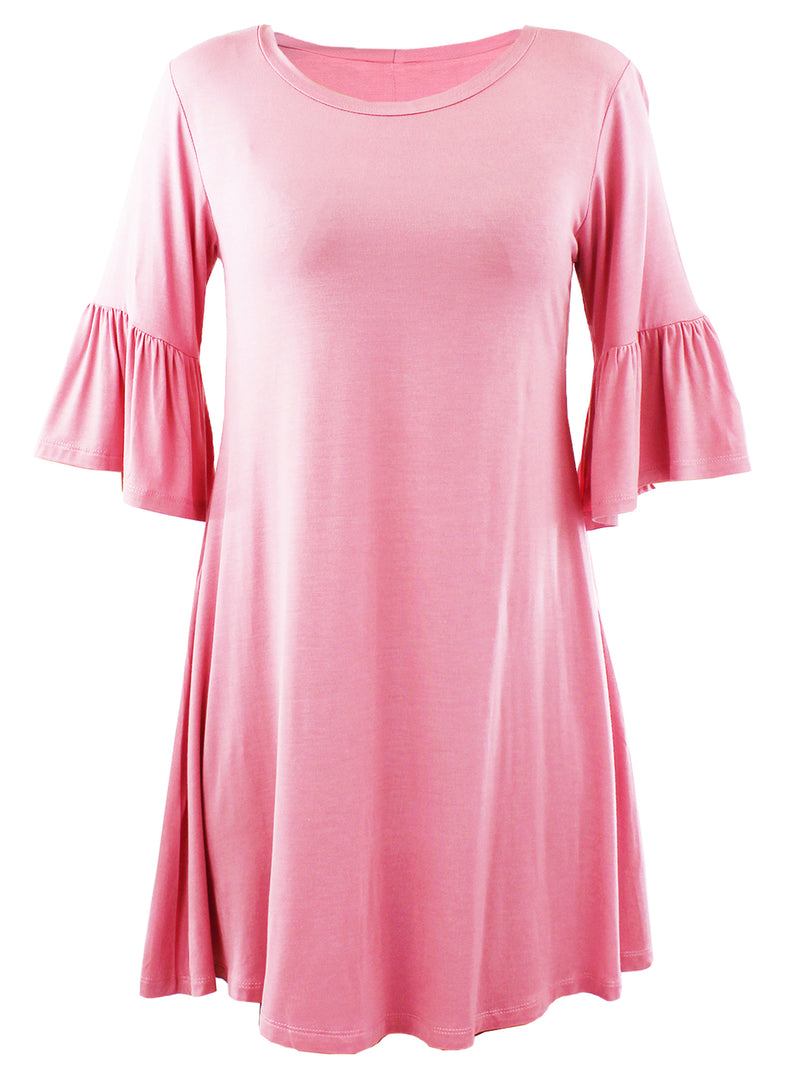 Rose Pink Womens Swing Dress