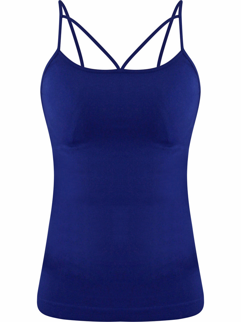Womens Seamless Navy Blue Strappy Tank Camisole