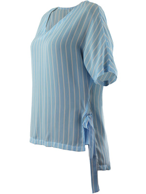 Light Blue Stripe Hi-Lo Womens Top With Side Ties