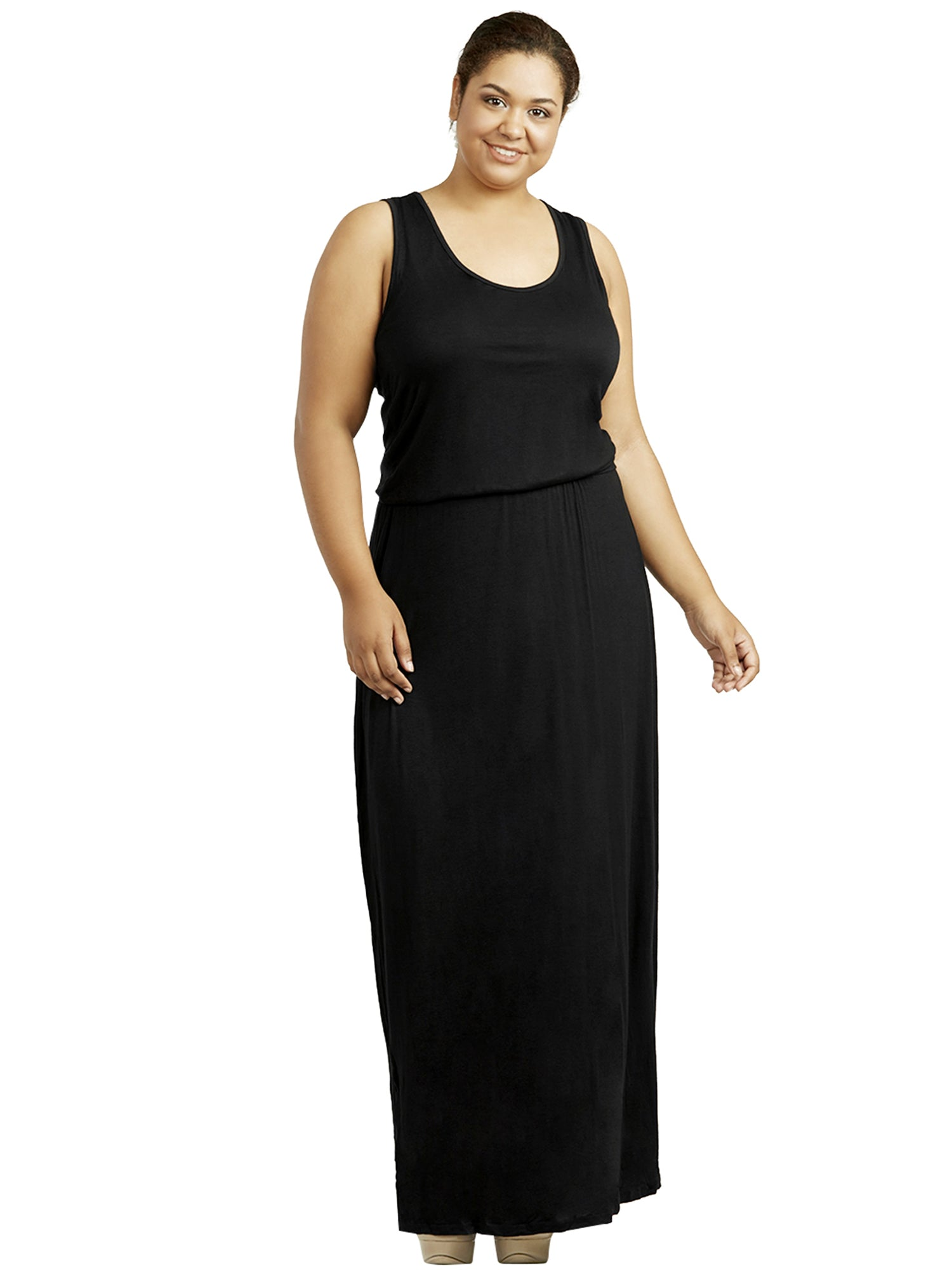 Womens Plus Size Black Elastic Waist Long Dress