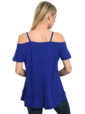Royal Blue Cold Shoulder Womens Top