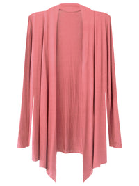 Mauve Pink Womens Open Front Draped Cardigan