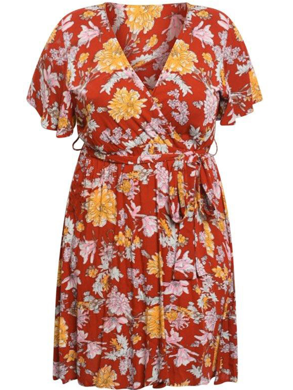 Orange Plus Size Wrap Dress