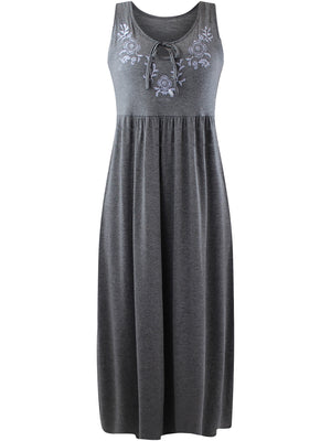 Gray Sleeveless Maxi Sun Dress
